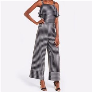 Leith Striped Jumpsuit Black and White